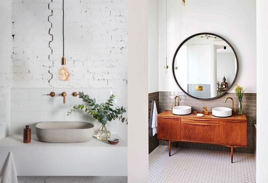 Szafka i oświetlenie w pokoju kąpielowym