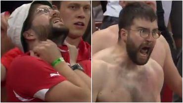 Reakcje kibica Szwajcarów podczas końcówki drugiej połowy meczu 1/8 finału Euro 2020 przeciwko Francji