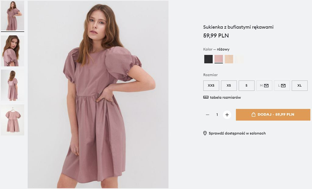 sukienka babydoll z bufkami