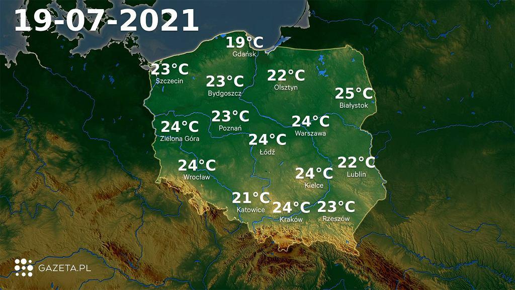 Temperatura w poniedziałek 19 lipca