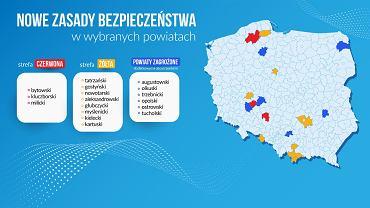 Koronawirus. Nowa lista powiatów w strefie czerwonej i żółtej