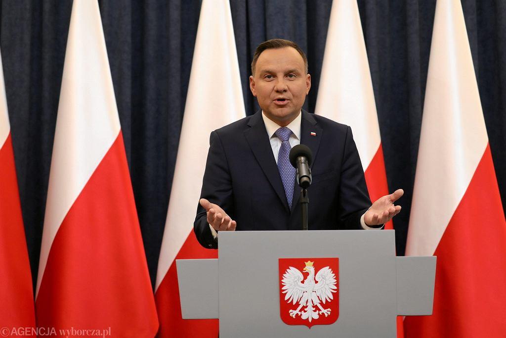 Oświadczenie prezydenta Andrzeja Dudy w sprawie ustawy degradacyjnej, Pałac Prezydencki, 30.03.2018 r.