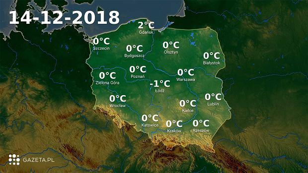 Mapa temperatury 14.12.2018r.
