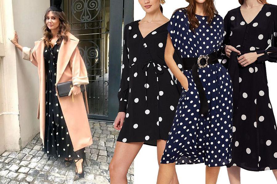 Kolaż, sukienki w grochy/Materiały partnera