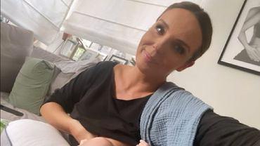 Agnieszka Włodarczyk karmi synka po pracy