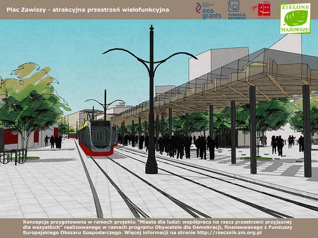 Zbliżenie na przystanek tramwajowy, usytuowany - jak wszystkie - na wylocie skrzyżowania, by nie trzeba było się zastanawiać, gdzie wsiadać, by trafić na tramwaj jadący w danym kierunku.