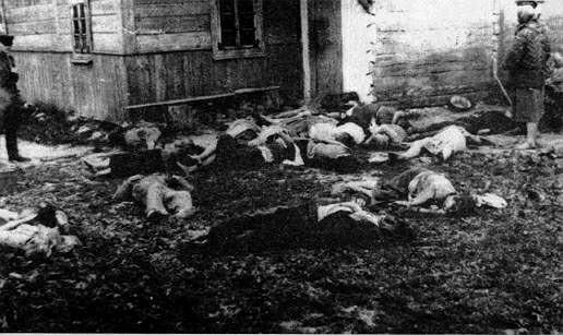 Ukraińscy mieszkańcy Wierzchowin zamordowani 6 czerwca 1945 r. przez oddział Narodowych Sił Zbrojnych kpt. Mieczysława Pazderskiego 'Szarego'. Partyzanci podszyli się pod 'ludowe' Wojsko Polskie, więc miejscowi przyjęli ich bez obaw. Jednak po wejściu do wsi zaczęli ich zabijać.
