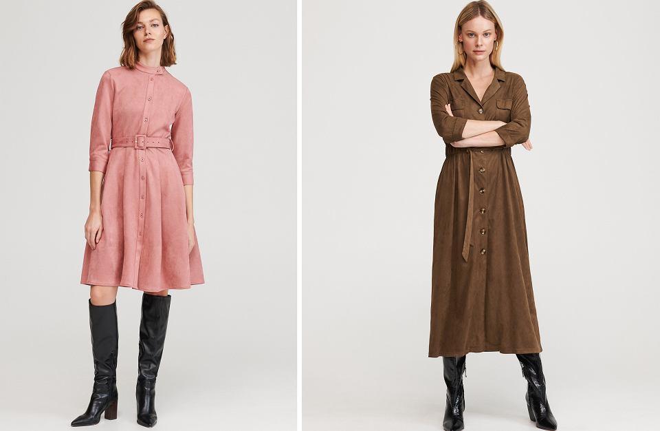 Sukienki z imitacji zamszu