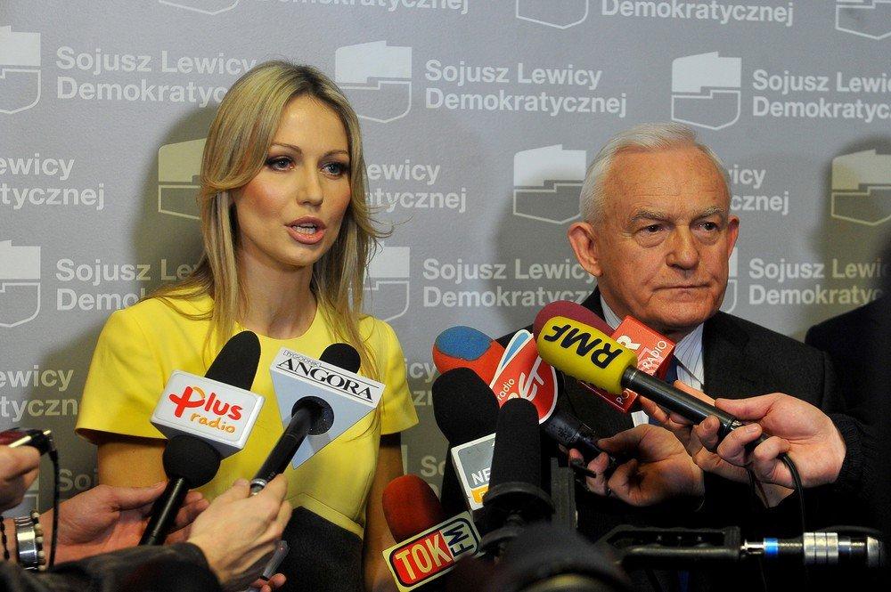 Magdalena Ogórek i Leszek Miller - przedstawienie kandydata SLD na prezydenta RP