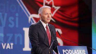 Jacek Żalek podczas konwencji wyborczej PiS w Białymstoku.