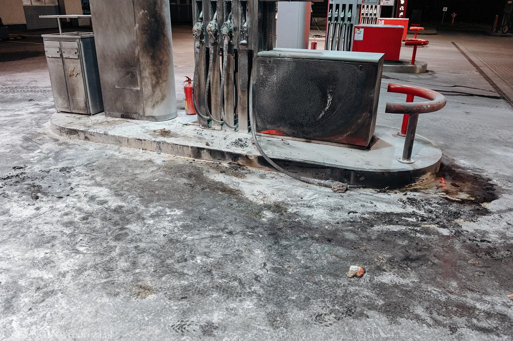Stacja benzynowa, na której podpalił się mężczyzna