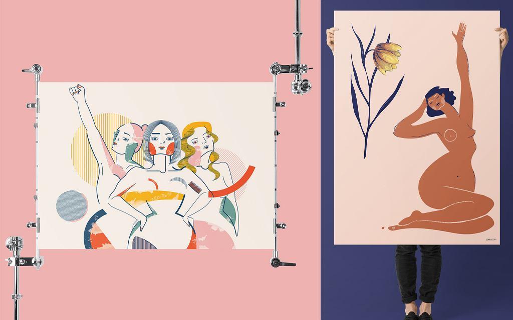 Plakaty Izy Bułeczki, które są częścią wystawy TRŁ 2021.