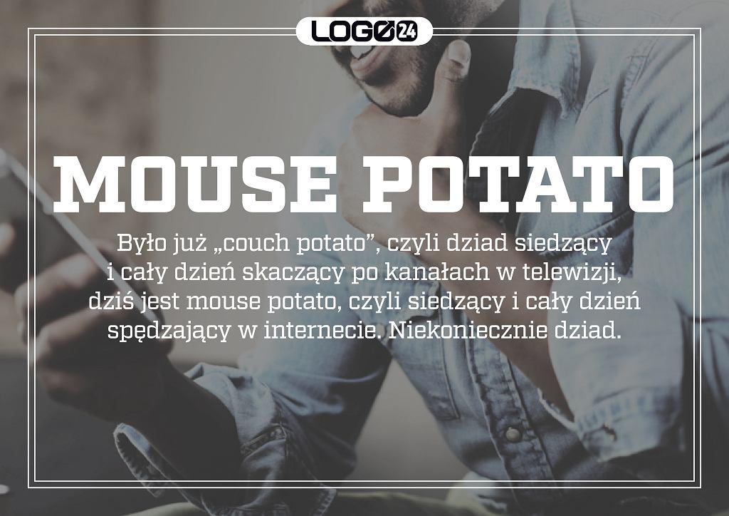 Mouse potato - było już 'couch potato', czyli dziad siedzący i cały dzień skaczący po kanałach w telewizji, dziś jest mouse potato, czyli siedzący i cały dzień spędzający w internecie. Niekoniecznie dziad.