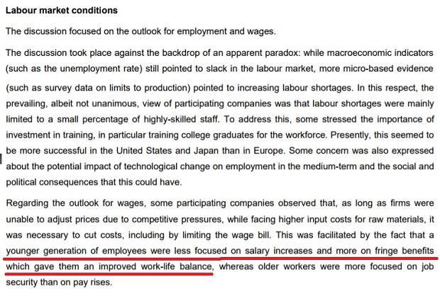 Fragment raportu ECB ze spotkania z szefami dużych firm ze strefy euro. Wątek dotyczący wzrostu płac.