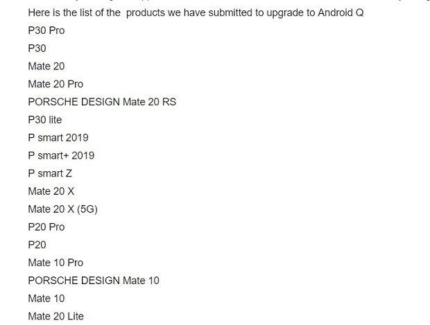Lista smartfonów Huawei, które otrzymają Androida Q