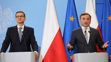 Morawiecki i Ziobro. Konferencja po posiedzeniu rządu PiS. Warszawa, 18 czerwca 2019
