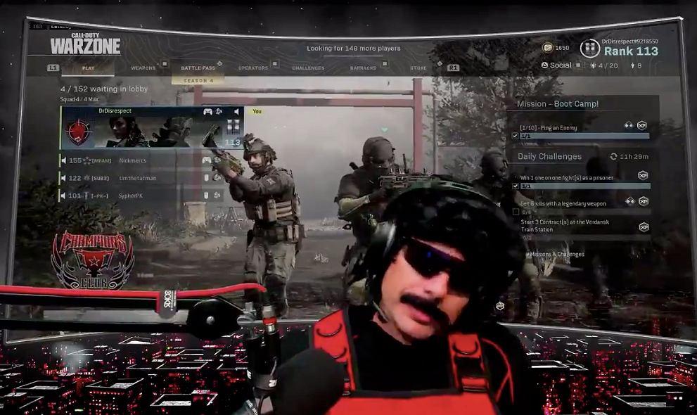 Dr. Disrespect podczas gry w Call of Duty: Warzone. Źródło: Twitter