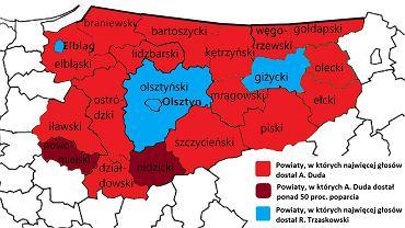 Wyniki wyborów prezydenckich 2020 na Warmii i Mazurach według zwycięzców w poszczególnych powiatach