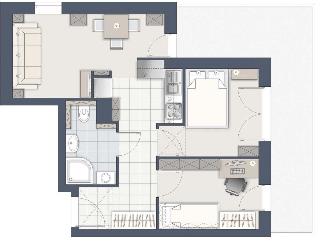 Trzeci pokój w dwupokojowym mieszkaniu - wersja B