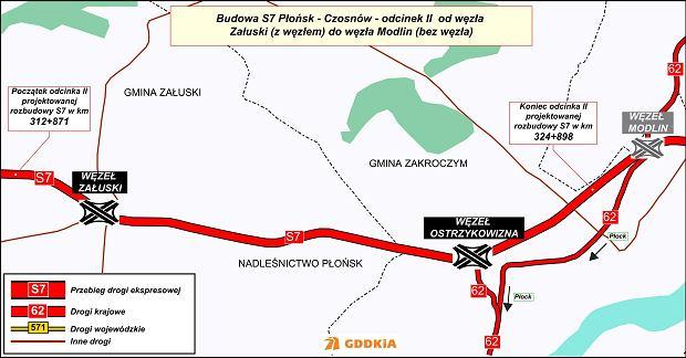 Budowa trasy S7 Załuski-Modlin