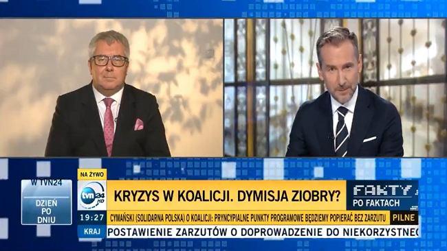 """Ryszard Czarnecki przepytywany przez Kraśkę. Pierwsze pytanie o Canossę. """"Cesarz rozebrał się do naga"""""""