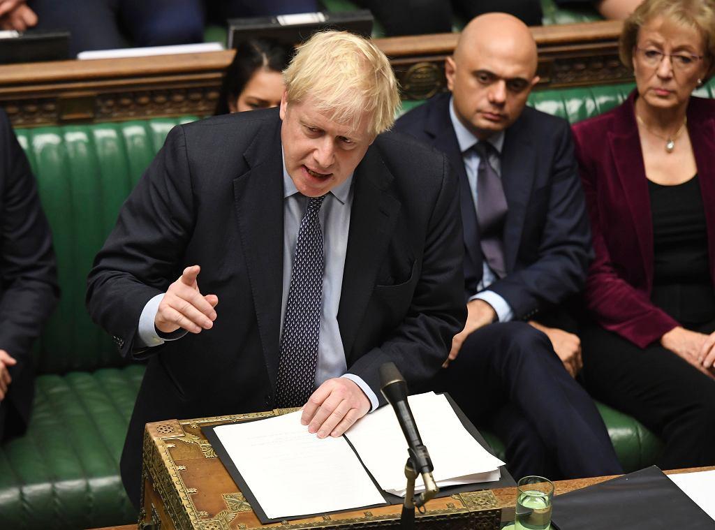 Premier Wielkiej Brytanii Boris Johnson podczas debaty w Izbie Gmin. Londyn, 19 października 2019