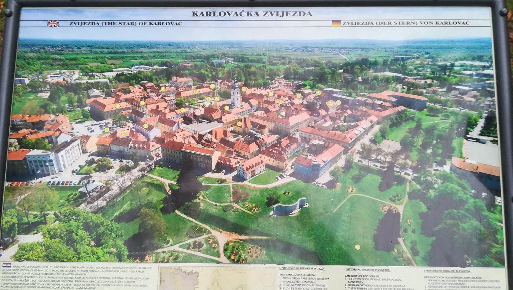 Karlovac - na posterze doskonale widać kształt sześcioramiennej gwiazdy, na planie której zbudowano fortyfikacje.