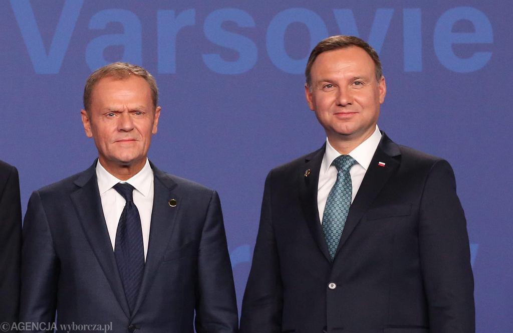 8.07.2016, Donald Tusk i Andrzej Duda podczas szczytu NATO w Warszawie.