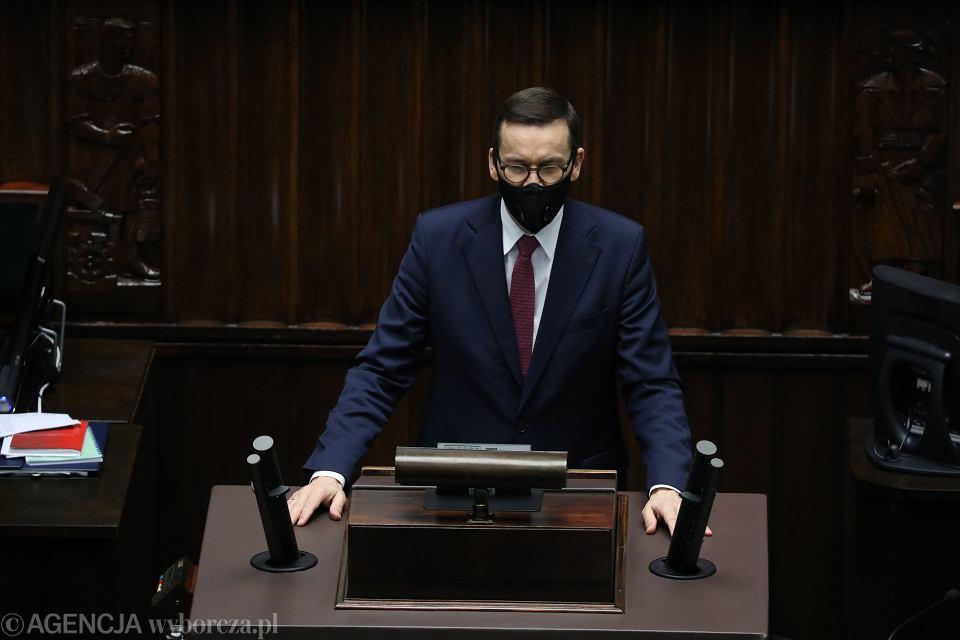 18.11.2020, Mateusz Morawiecki przemawia w Sejmie