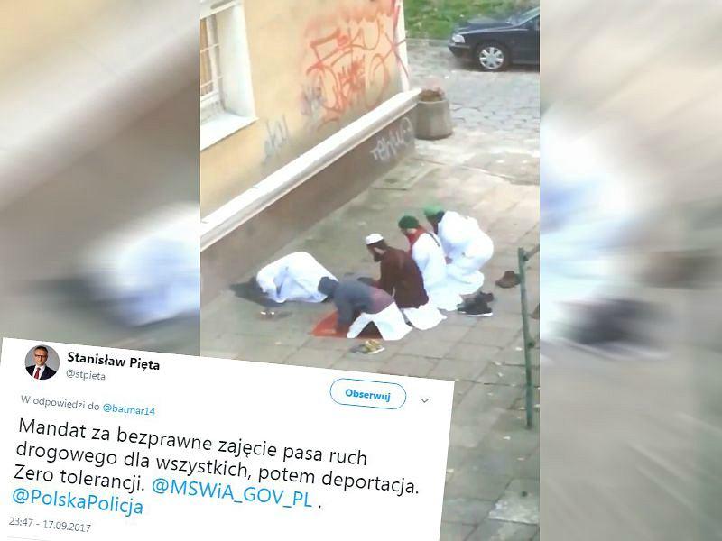 Tweet Stanisława Pięty i modlący się muzułmanie