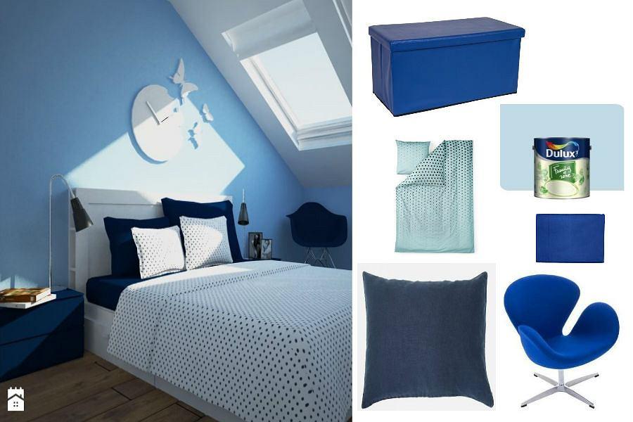 Niebieskie meble i dodatki do sypialni