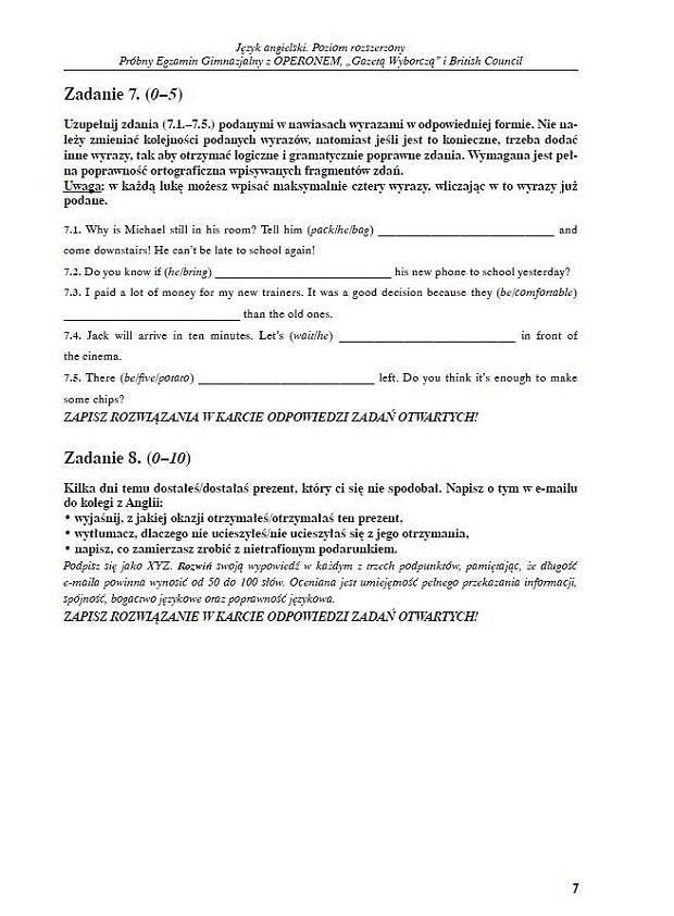 Próbny egzamin gimnazjalny z Operonem z języka angielskiego