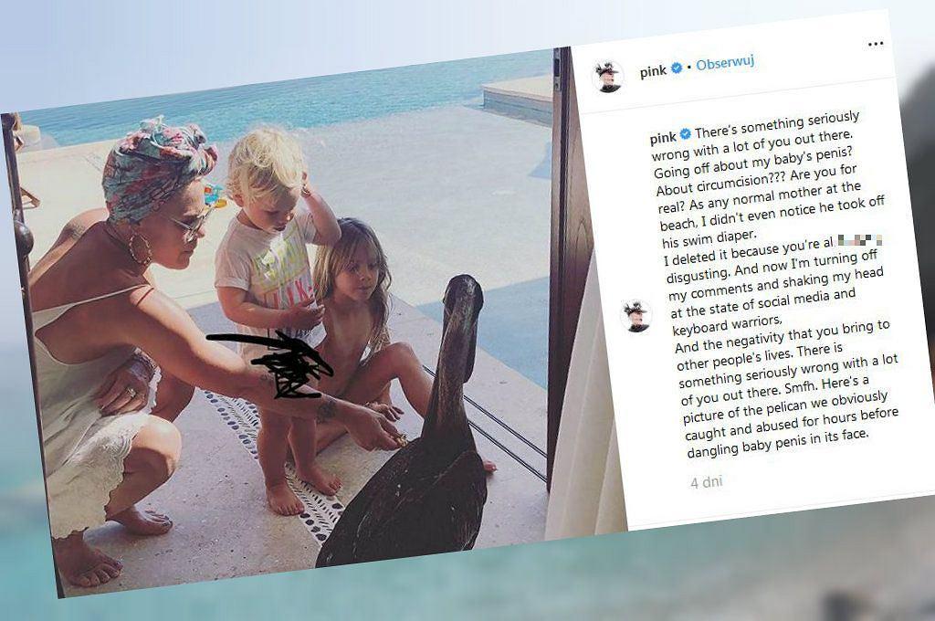 Pink opublikowała zdjęcie swojego 2-letniego synka bez majtek i pieluszki. Fani byli oburzeni. Odpowiedział im, nie przebierając w słowach