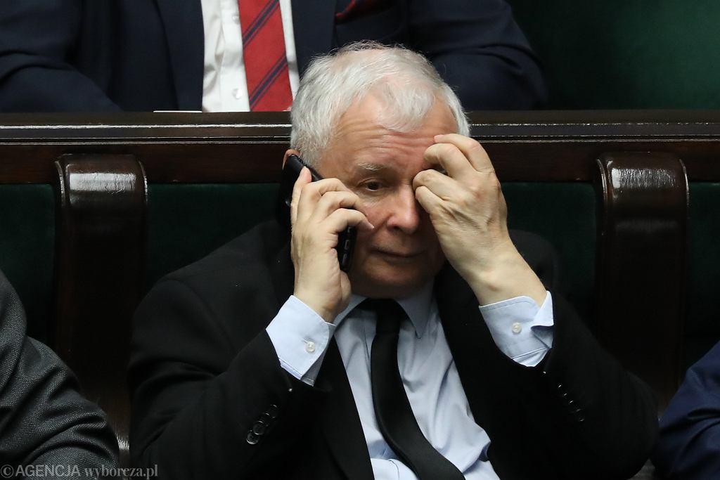 Prezes PiS Jarosław Kaczyński podczas 61. posiedzenia Sejmu VIII Kadencji. Warszawa, 12 kwietnia 2018