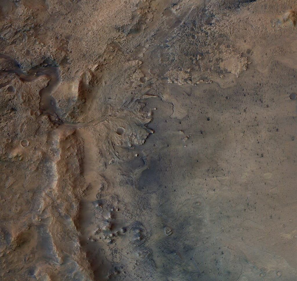 Ślady dawnej delty rzeki, która wpadała do jeziora utworzonego w kraterze