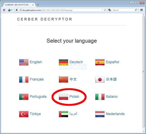 Cerber dostępny jest również po polsku