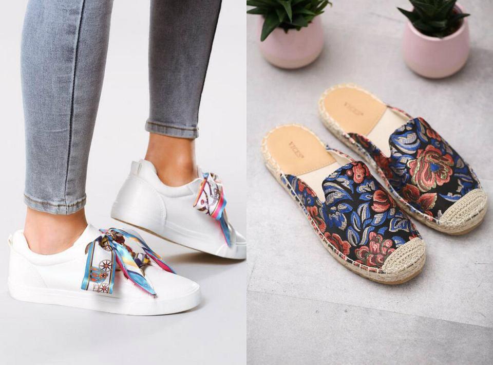Sportowe buty z ozdobnymi wiązaniami i modne klapki ze słomianą podeszwą