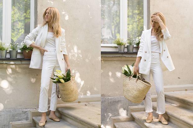 Kasia Tusk cała na biało w topie z H&M i marynarce MLE Collection