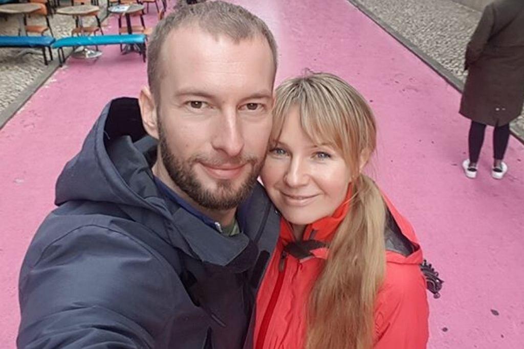 Anna Guzik z mężem