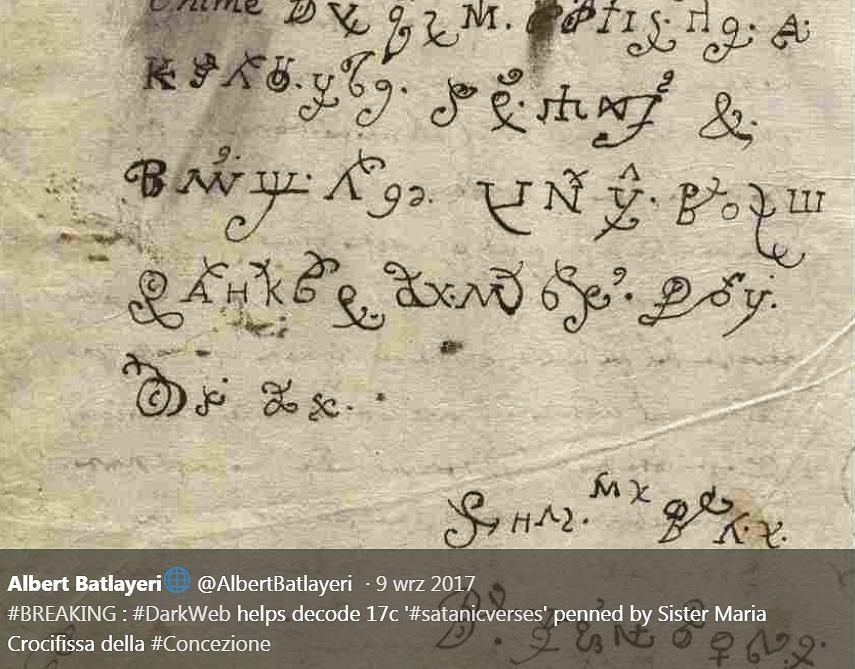 Przetłumaczyli list zakonnicy 'opętanej' przez szatana