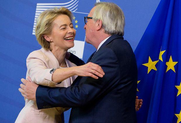 Ursula von der Leyen, kandydatka na szefową KE i ustępujący przewodniczący Komisji Europejskiej Jean-Claude Juncker