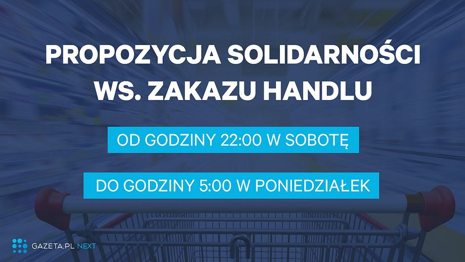 Propozycja NSZZ Solidarność w sprawie zakazu handlu w niedzielę
