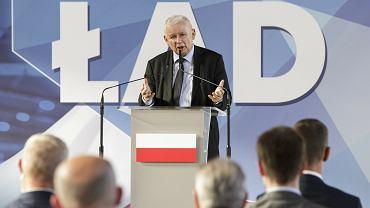 Jarosław Kaczyński przedstawia Polski Ład w Wysokiem Mazowieckiem, 20 lipca 2021 r.