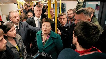 Hanna Gronkiewicz-Waltz w nowym pociągu Inspiro warszawskiego metra