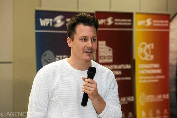Bartłomiej Brach podczas spotkania z Jutronautami we Wrocławskim Parku Technologicznym we Wrocławiu