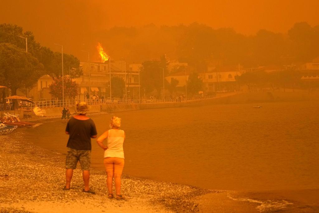 Grecja. Pożary na wyspie Eubea, na zdjęciu drzewa płonące na skraju plaży w wiosce Pefki, 8 sierpnia 2021 r.