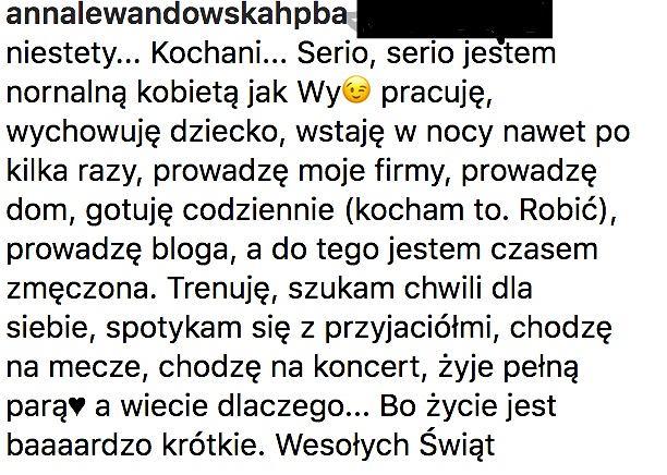 Anna Lewandowska odpowiada fanom