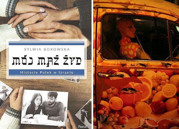 Okładka książki ''Mój mąż Żyd'' i reklama baru z sokami w Tel Awiwie
