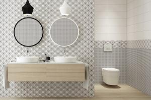 Nowoczesna łazienka: miski wc i przyciski spłukujące