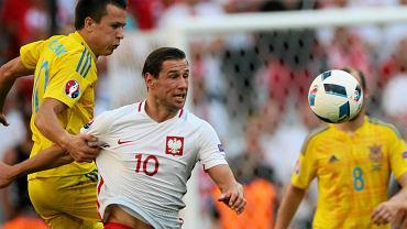 Grzegorz Krychowiak podczas meczu Polska Ukraina w fazie grupowej Euro 2016